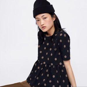 Zara Polk-a-dot Peplum Short Sleeve US Size Medium
